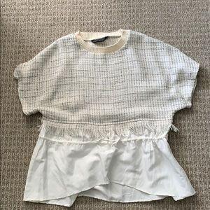 Zara tunic with tweed and linen fabric.